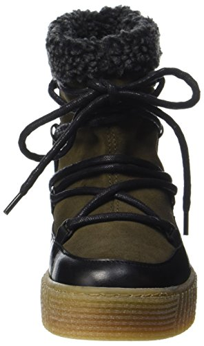 PIECES Schneestiefel Leather Pspaccia Dark Damen Olive Boot rYqUrEw