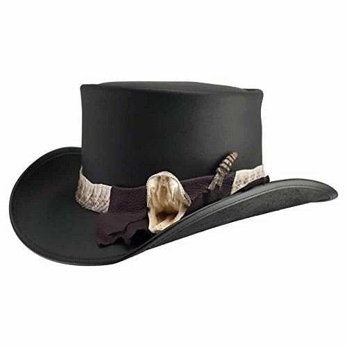 Hat Rattlesnake - Voodoo Hatter Pale Rider-Rattlesnake Band by American Hat Makers Leather Top Hat, Black Finished-Rattlesnake Band - Small
