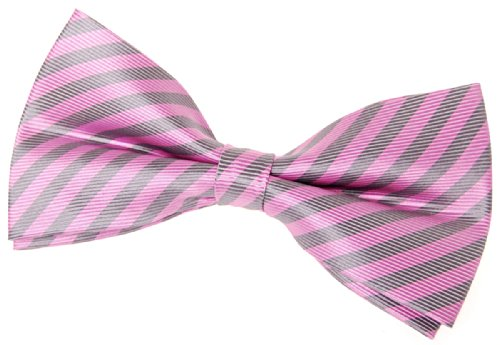 """Retreez Striped Woven Pre-tied Bow Tie (5"""") - Pink and Grey Stripe"""