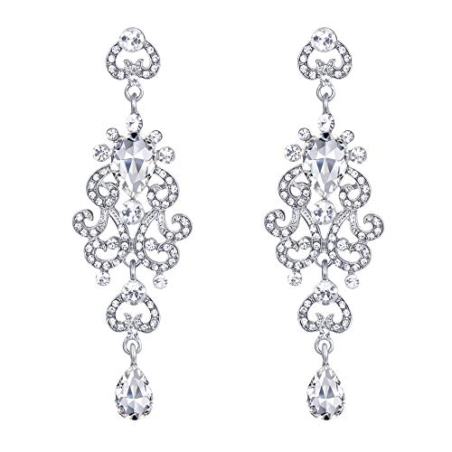 EVER FAITH Women's Crystal Bridal Hollow Heart Teardrop Chandelier Dangle Earrings Clear Silver-Tone (Heart Chandelier Earrings)