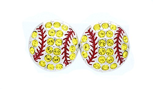Violet Victoria & Fan Star SOFTBALL POST EARRINGS - BASEBALL POST EARRINGS - FASTPITCH POST EARRINGS - YELLOW-RED