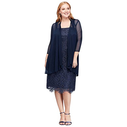 Metallic Lace Plus Size Shift Mother of Bride/Groom Dress with Jacket Style.