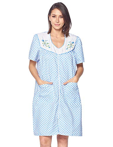 Casual Nights Women's Zipper Front House Dress Short Sleeves Duster Lounger Housecoat Robe, Dots Blue, Medium