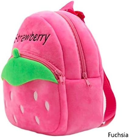 Pandora Velvet Kids School/Nursery/Picnic/Carry/Travelling Bag - 2 to 5 Age (Pink Strawberry)