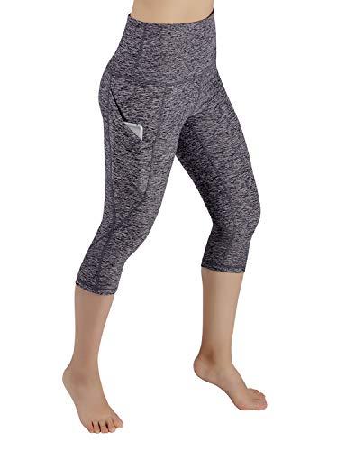 ODODOS High Waist Out Pocket Yoga Capris Pants Tummy Control Workout Running 4 Way Stretch Yoga Leggings,NavyHeather,X-Large