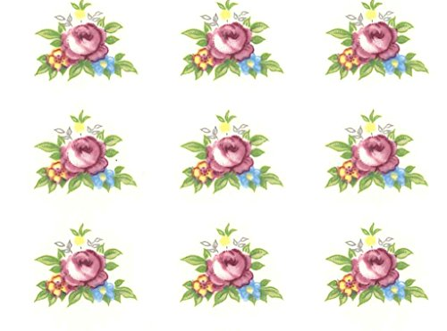 1778 Pink Rose Border and Bits Waterslide Ceramic Decals By The Sheet (1/2