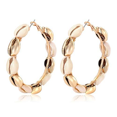 - Hoop Earrings For Women Natural Cowrie Shell Beads Hoop Earrings Statement Stud Drop Earrings Bohemia Hawaii Wakiki Beach Jewelry (white gold shell)