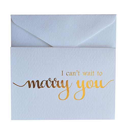 MAGJUCHE I Can't Wait to Marry You Wedding Day Card, to Your Bride or Groom, Gold Foil Notecard Love Note Before I Do