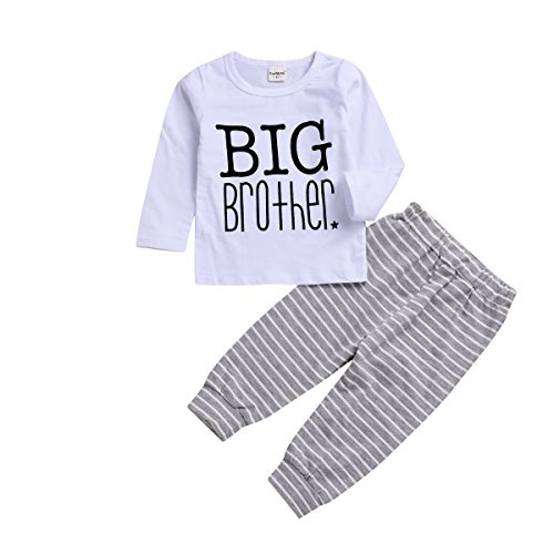BELS Baby Boy Clothes Set Twins Big Little Brother Romper Tops + Striped Pants with Hat Outfit (Big Brother, - Twins Brothers