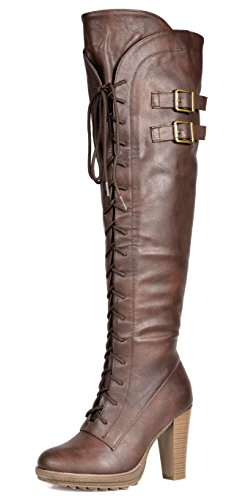 DREAM PAIRS Women's Lacey Over Knee High Heel Lace up Zipper Closure Combat Boots,Brown,8.5 B(M) US