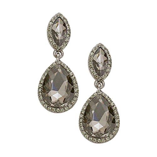Rosemarie Collections Women's Rhinestone Halo Crystal Teardrop Statement Drop Earrings (Silver Tone/Black Diamond)