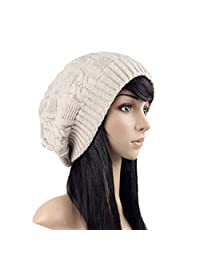 Challyhope Women's Lady Knitted Beret Hat Braided Cap French Beret for Winter Autumn Solid Color