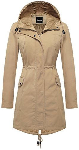 Wantdo Women's Zip Closure Trench Coat Mid-Lenghth Fishtail Anorak hoodie Parka Jacket US Small Khaki