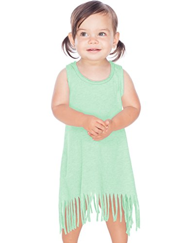 Kavio! Infants Sheer Jersey Raw Edge Fringe Asymmetrical Tank Dress Ice Green - Jersey Asymmetrical