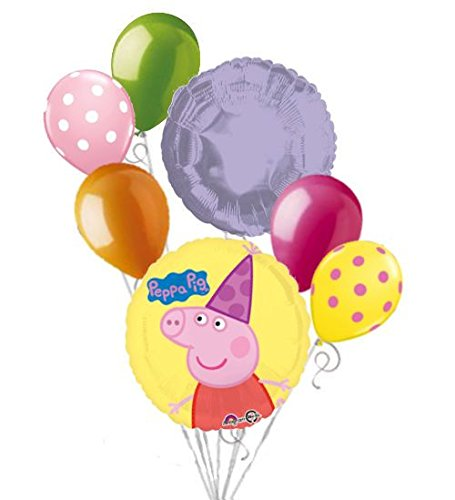 7 pc Peppa Pig Party Hat Balloon Bouquet Party Decoration Nick Jr. Cake Birthday -