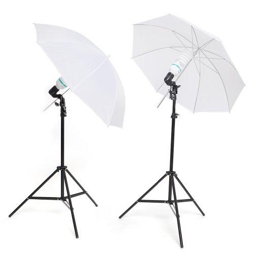 MVPower® Fotostudio Studioleuchte Fotolampe Studioset Studiolampe Stativ Lampenstativ mit Reflexschirm (2 x 135W Fotostudio Set-1)