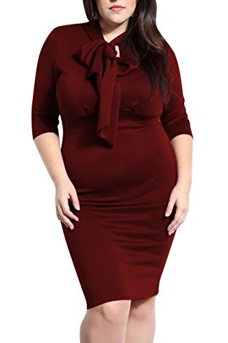Pink Queen Womens Plus Size Dress Half Sleeve Bowknot Bodycon Midi Dresses XL Wine Red