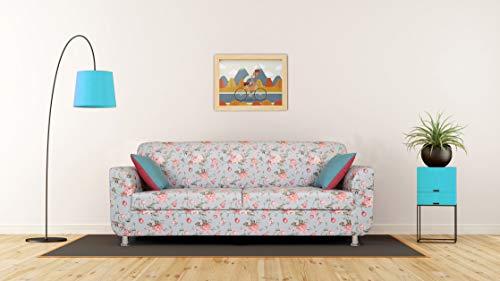 Adorn India Roselyn 3 Seater Sofa Digitel Print (Blue)