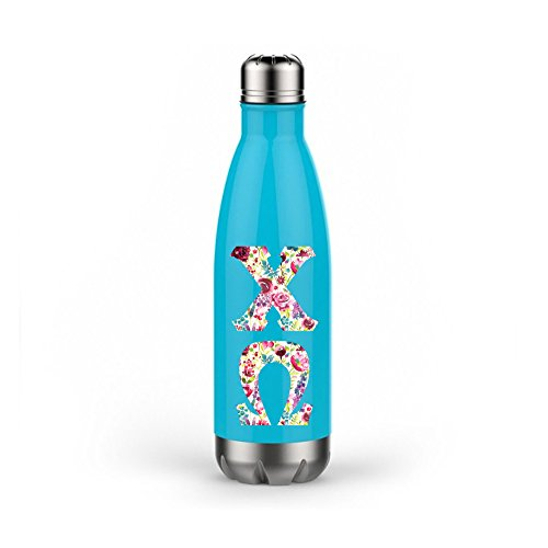 Chi Omega Sorority Double Wall Stainless Steel Water Bottle 17 Ounces Drink Glass Chi O (Aqua)