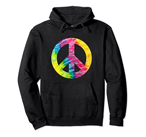 Unisex Tie Dye Peace Sign Symbol Hippie Hoodie Sweatshirt XL: Black