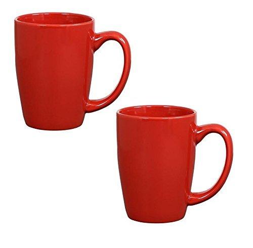 Endeavor Ceramic Coffee & Tea Mug, Red 14 oz (Pack of 2) 2 Tea Mugs