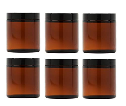 8 Oz Amber Glass Jar Straight Sided with Black Lid - Pack of (12)