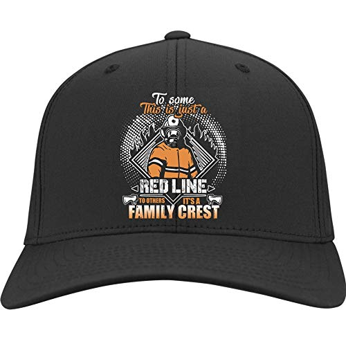 Family Crest Trucker Hat - It's A Family Crest Hat, This Is Just A Red Line Twill Cap (Twill Cap - Black)