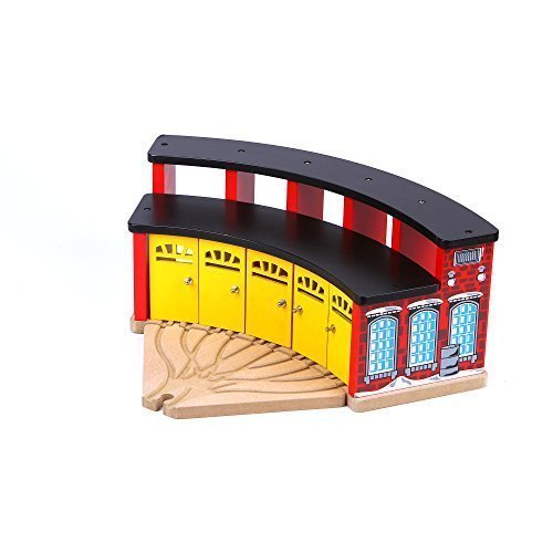 UPC 601420330236, Wood Track Train Garage - iPlay, iLearn Roundhouse Fits 5 Cars,100%Compatible with all Thomas Wooden Railway items.