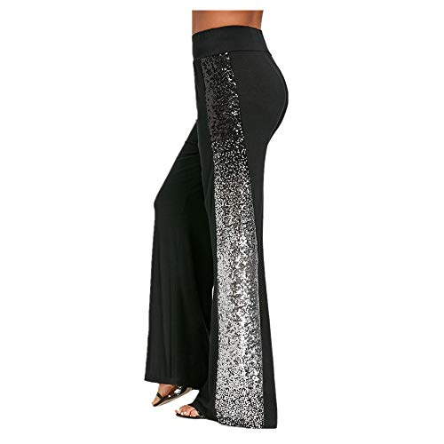 - iYBUIA Women's Casual Solid Dot Stretchy Wide Leg Palazzo Lounge Pants (XL, X-Black)
