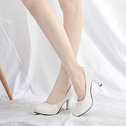Redondas Las Señoras Trabajo Negras Los Oficina D Alto De Calzan La Cómodos Del Zapatos Tacón Solos Principales Flyrcx Manera qwfIqd