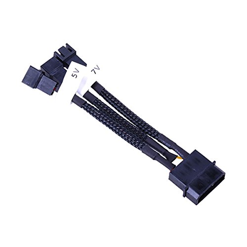Phobya Adaptor Cable, 4-Pin Molex to 3-Pin 5V/7V/12V , 10cm,