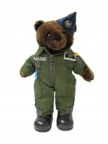 """Stuffed 10"""" teddy bear in personalized custom embroidered U.S. Air Force Flight Suit Coverall Jumper Military Uniform"""