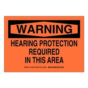 Black on Orange LegendHearing Protection Required in This Area Brady 128992 Personal Protection Sign 10 Height 14 Weight