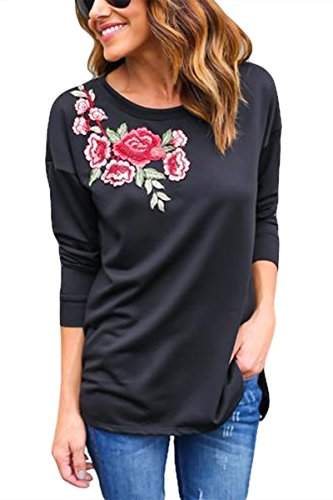Neck Flower Embroidered Top - 8