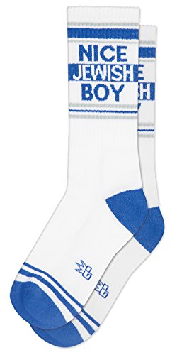 NICE JEWISH BOY Socks by Gumball Poodle: Make A Statement, Unisex Gym Sock: White and Blue (Kids Socks Woven)