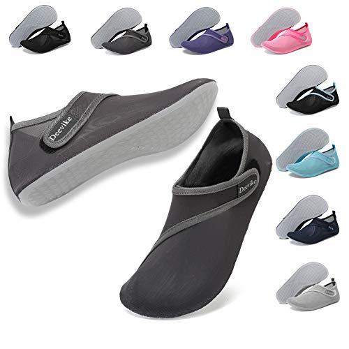 Deevike Water Shoes Mens Womens Barefoot Aqua Socks Mesh Slip On Yoga Shoes for Beach Swim Surf Pool Exercise Dark Grey EU40/41