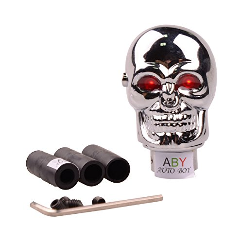 ABy Skull Shape Auto Car Aluminium Alloy Gear Stick Shift Shifter Lever Knob with Red Led light For Car Manual Transmission and Automatic Transmission Without Lock Button (Gear Lever Lock)