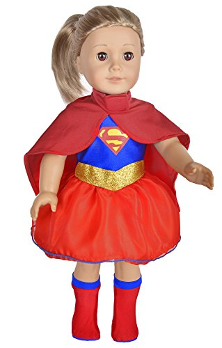 ebuddy Super Girl Hero Set Include Cloak Dress and Stocking Clothes Fits 18 Inch Doll]()