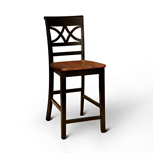 Furniture of America Cherrine Country Style Pub Dining Chair, Oak Black, Set of 2