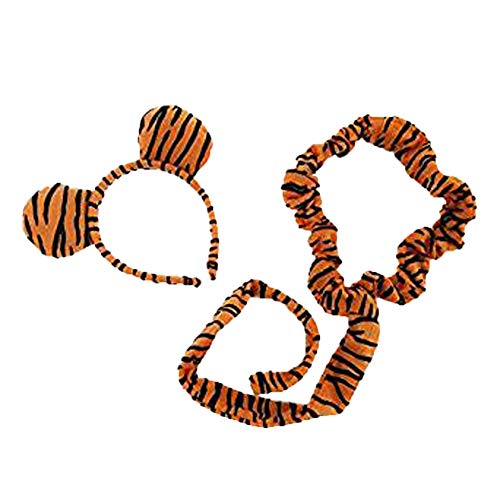Novelty Giant Plush Striped Tiger Ears Headband and Tail Set ()