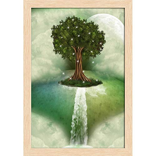 ArtzFolio Tree in A Landscape with Dragonfly Poster Natural Brown Frame with Glass 9.5 x 13.5inch