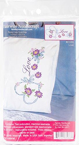 Fairway Needlecraft Love Heart Stamped Perle Edge Pillowcases (2/Pack), 30
