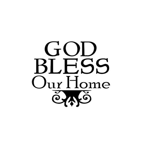 Quotes Wall Decals - God Bless Our Home, DIY Removable Pendent Lamp Wall Sticker Murals PVC DIY Easy Peel Vinyl Decal Kids Adults Bedroom Living Room Family Home Decor (Black)