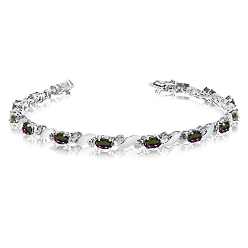 14k White Gold Natural Mystic-Topaz And Diamond Tennis Bracelet