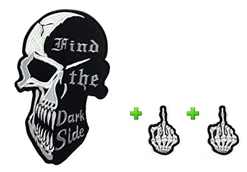 Unique w/ Best Match, Large Size Skull Hide the Dark Side & Small Devil Patches Badge Over 80% Embroidered Iron on Sew Cool Look for Biker Trucker Rocker Chopper Jacket by Indy Patch