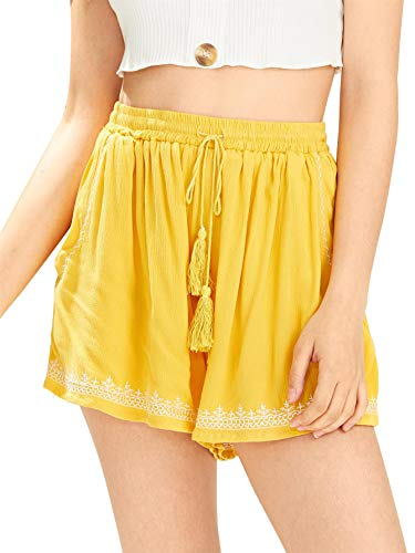 Floerns Women's Elastic Waist Summer Casual Beach Shorts Yellow S by Floerns