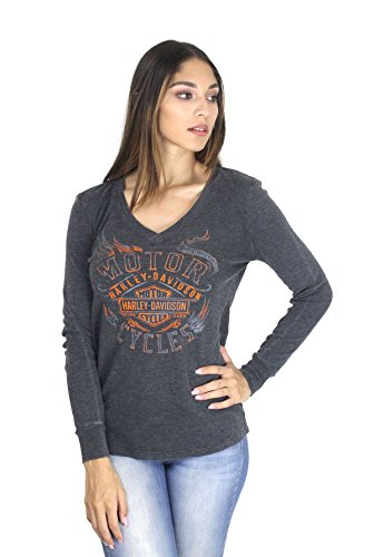 Harley-Davidson Womens Core Custom Trademark B&S Mineral Wash Long Sleeve (Medium) - Ladies Harley Davidson
