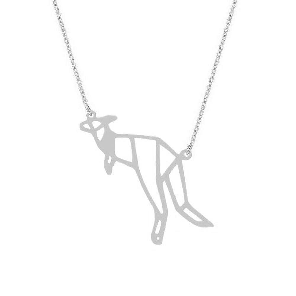NOUMANDA Minimalist Origami Kangaroo Necklace Geometric Elements Cute Animal Pendant Jewelry Female Gift