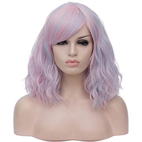 BERON 15'' Women's Bob Curly Wig with Bangs Halloween Cosplay Wig Daily Use Synthetic Wigs (Pale Colorful) -