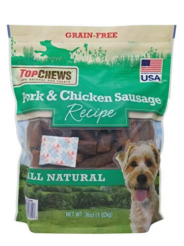 (Top Chews Pork & Chicken Sausage Dog Treats 100% Natural 36 OZ)